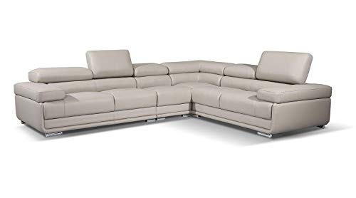 2119 Leather Right Hand Facing Sectional Sofa in Light Grey