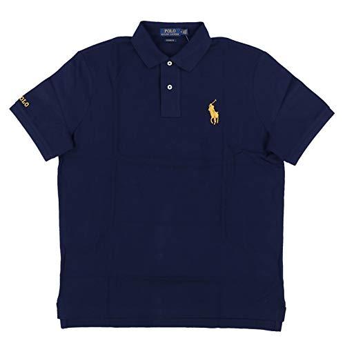 (Polo Ralph Lauren Mens Classic Fit Mesh Medium Gold Pony Polo Shirt (L, Navy))