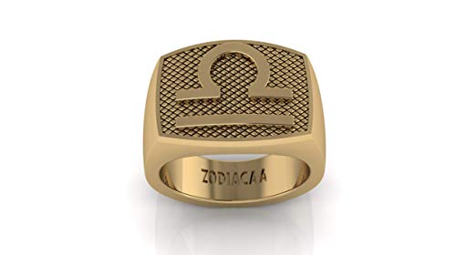 ZODIACAA Men's Zodiac Sign Reversible Ring 12 Star Constellations Unique Design Astrology Jewelry Gold Color| Great Gift idea (Libra, 8) ()