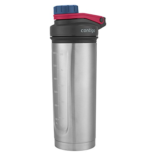 Contigo Vaccuum-Insulated Shake & Go Fit Stainless Steel Shaker Bottle, 24 oz, Dusted Navy
