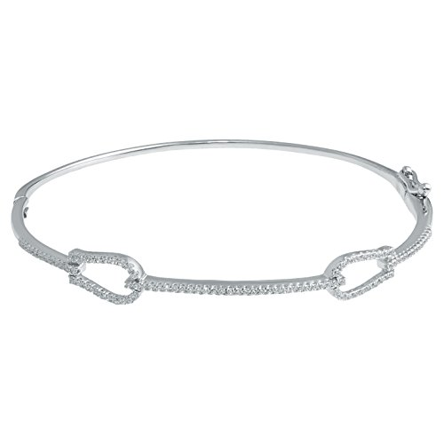 14K White Gold Bangle with 0.34 cttw Diamonds by Metro Jewelry