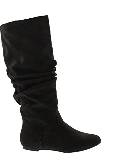 (West Blvd Saigon Slouch Slouch Boots,Black Suede,6.5)