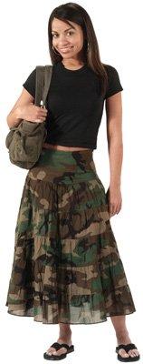 Womens Woodland Camo Gauze - Women's Woodland Camouflage Gauze Skirt, Woodland Camouflage, X-Large