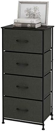 WLIVE Dresser with 4 Drawers, Fabric Storage Tower, Organizer Unit for Bedroom, Hallway, Entryway, Closets, Sturdy Steel Frame, Wood Top, Easy Pull Handle