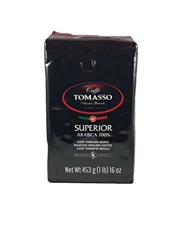 Caffe Tomasso Aroma Grande, Superior Blend, Medium Roast, 100% Arabica Ground Coffee Imported from Portugal, 16 Ounce Bag