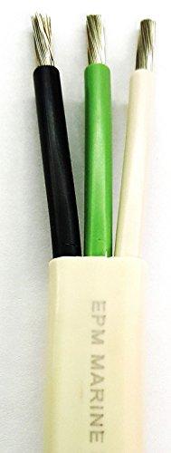 10/3 AWG Triplex Tinned Marine Wire, Black/Green/White 25 Feet