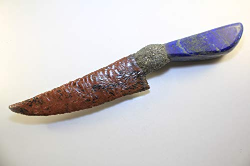 "13-3/4"" Long Mahogany Obsidian Knife Blade Domed Dragon Glass Gem Point Flint Knapped/Knapping Mountain Man Rendezvous With Crushed Pyrite Hafted On Real Polished Lapis Handle"
