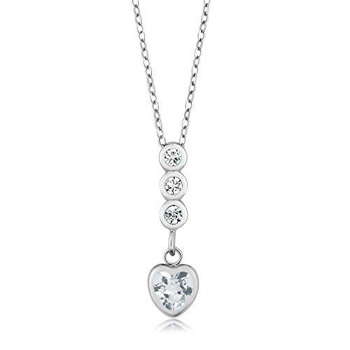 1.09 Ct Heart (1.09 Ct Heart Shape Sky Blue Topaz 925 Sterling Silver Pendant)