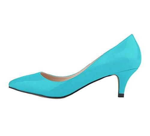 Yilaiyiqu_1 Popular Women's Elegant Shallow Mouth Multi Colors Slip On Pointed Toe Kitten Heel Dress Pump Shoes Sky Blue37 M EU / 7 B(M) (Dillards Robes)
