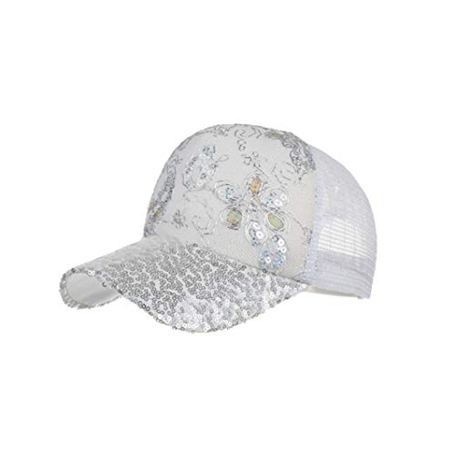 Women Charming Baseball Cap Summer Sequin Ponytail Fashion Fancy Shiny Mesh Hip Hop Hats Sparkle Baseball Caps White ()