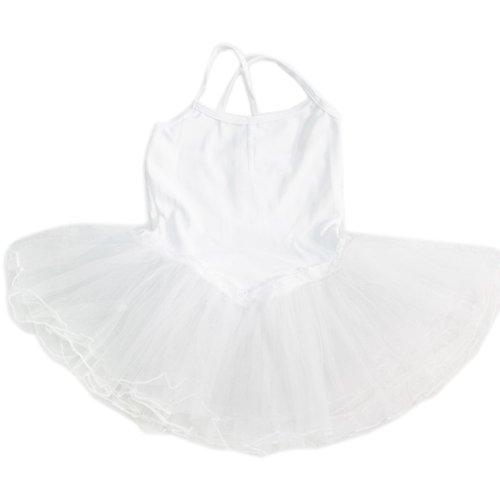 New Dancer Ballet Ballerina Skirt Tutu Leotard Dress for 4-6 Years Old Girl's Children (White)