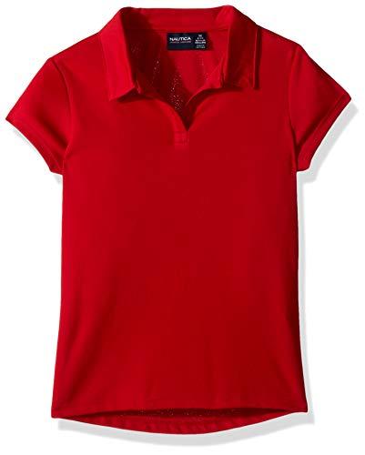 Price comparison product image Nautica Girls' Big School Uniform Short Sleeve Performance Polo,  Red,  Medium(8 / 10)