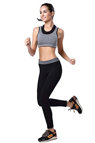 Qutool Mallas de mujer para hacer deporte, yoga, correr. negro