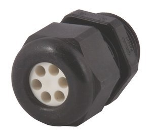 6 x 0.26'' Range 1'' NPT Black Nylon Liquid Tight/Multi-Hole Cable Strain Relief Fitting by Sealcon