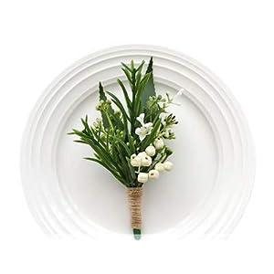 Yokoke Handmade Artificial Succulent Corsage Wristlet Realistic Berry Green Plants Boutonniere for Wedding Decor 2 Pcs 2