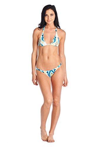 Cia Maritima Womens Swimsuit Bikini Set Triangle Azul 0532344 Blue White Lemon Small