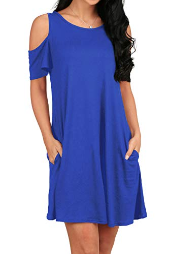OFEEFAN Women Plus Size Solid Basic Flowy Tank Tops Summer Short Sleeve Tunic Dress Blue M