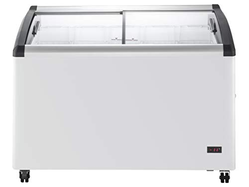 Chef's Exclusive Commercial Mobile Ice Cream Display Chest Freezer Curved Sliding Glass Lids Frost Free Sub Zero with 5 Wire Baskets, 47.4 Inch Wide, White