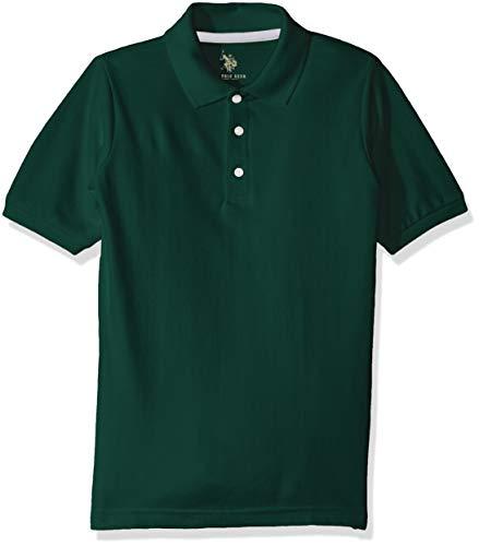 U.S. Polo Assn. Camisa de piqué de Manga Corta para niños, Hunter Green, 4