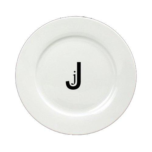 Carolines Treasures CJ1056-J-DPW-8 Letter J Initial Monogram Modern Round Ceramic White Salad Plate