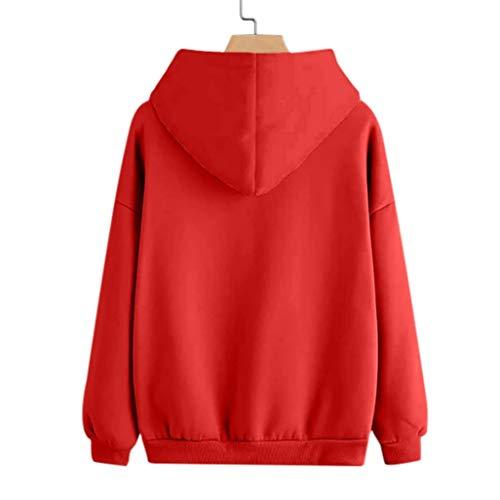 Donna Maniche Manica VICGREY Rosso Ragazza Lunga Maglietta Autunno Top Pullover Lunghe Felpa a Donna Elegante Stampato Casual Camicetta Donna Felpa Tumblr Piume xqYrIFq