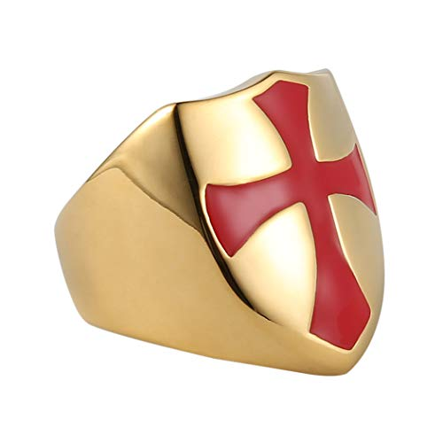 HZMAN Mens Knights Templar Red Cross Ring Stainless Steel Shield Band,Silver Gold Black, Size 7-14 (Gold, 12)