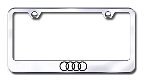 - New Stainless Steel Audi Logo Only License Plate Frame W/Bolt Caps