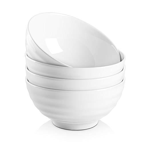 DOWAN 26 Ounces Porcelain Soup Bowls, Cereal Bowls with Rim, 4 Packs, White