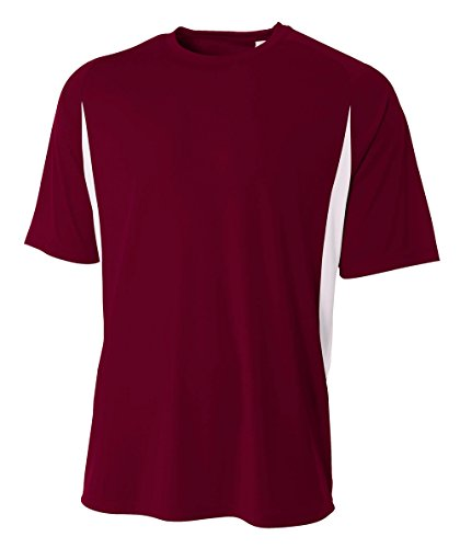 A4 Men's Short Sleeve Cooling Performance Color Block Tee, Maroon White, 3X-Large