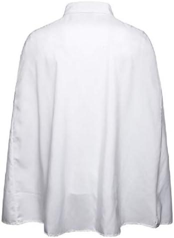 Romancly メンズロングスリーブピークカラーポンチョシルバーフィットプレーンロングシャツ