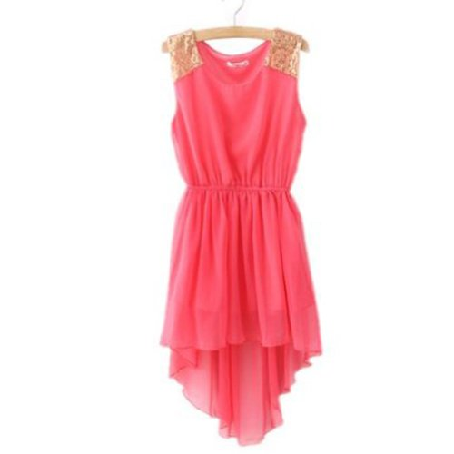 Zehui Womens Paillette Shoulder Slim Elegant Chiffon Mini Vest Dress Red US4