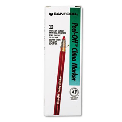 Peel-Off China Markers, Red, Dozen, Total 60 DZ by Sharpie