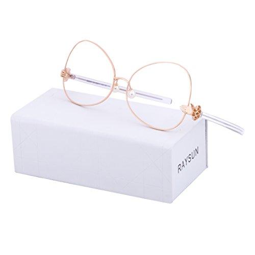 RAYSUN Women Oval Sunglasses Mirrored Eyewear Metal Frame Aviator Oversized UV 400 lens fashion plastic glasses (Rose - Aviators Mirrored Rose Gold