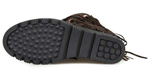 Heel Womens Boots Fringe Platform Wedge Vitalo Brown Mid Calf Hidden qTx6gdt