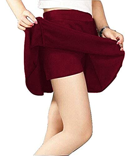THE BLAZZE 1274 Women's Basic Versatile Stretchy Skort Flared Casual Mini Skater Skirt with Attached Inner Shorts
