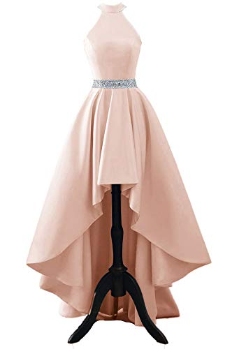 Chnaguan Womens Halter High Low Satin Prom Evening Dress Cocktail Party Gowns Blush-8