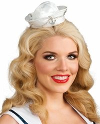 Sailor Hats For Sale (Rubie's Costume Womens Mini Sailor Hat With Silver Anchor, White/Silver, One Size)