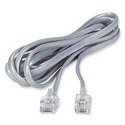 Amazon.com: RJ11 6P6C Modular Flat Phone Cable, Silver, 25 Feet ...