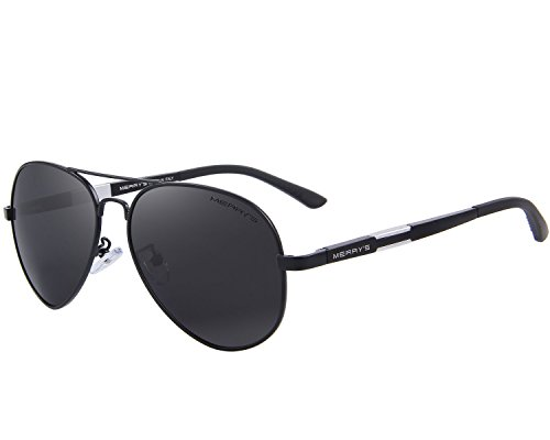 MERRY'S Men HD Polarized Sunglasses Aluminum Magnesium Driving Sun Glasses S8285 (Black, 60)