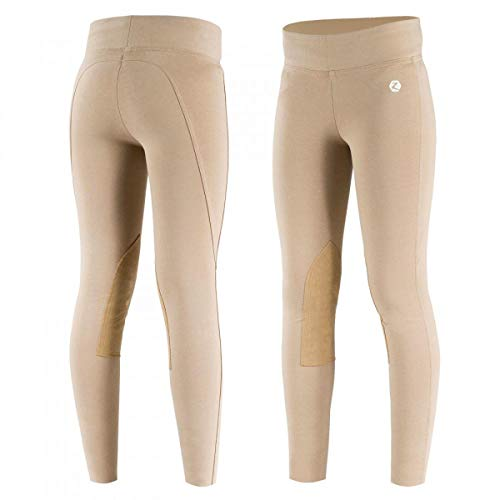 Horze Junior Knee-Patch Active Tights, Light Light Brown, X-Large Cool Cotton Riding Breeches