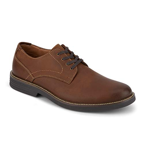 Dockers Mens Parkway Leather Dress Casual Oxford Shoe with NeverWet, Cognac, 7 M