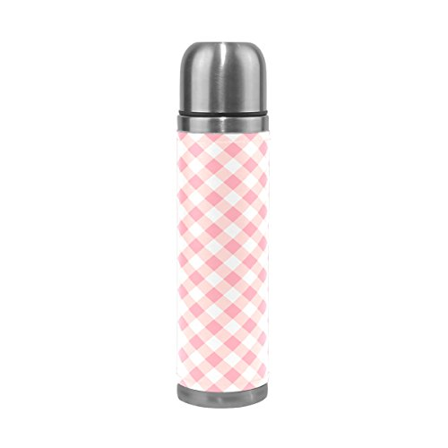 TSWEETHOME Vacuum Insulated Water Bottle Double Wall Stainless Steel Leak Proof Wide Mouth with Novelty Graphic Seamless Mosaic Pattern Pink Tartan Compact Bottle Beverage Bottle