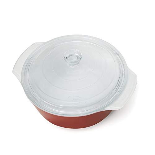 耐熱スマートグラス 2.11クォート カバー付きキャセロール皿 - 焼いたり盛り付けたりするのに最適 レッド  レッド B07L49X6TL