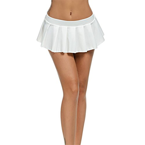 lokp Women Micro Skirt Sexy Low Waist Skirt Sleepwear Nightwear Pleated Skirts 615 White - Mini 615