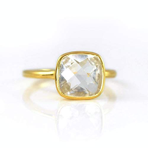 Clear Quartz Cushion Ring, Stackable Ring, Vermeil Gold or silver, bezel set ring, April Birthstone ring