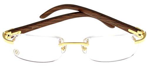 Rimless Glasses Dubai : Cartier Prescription Eyeglasses Frame Wood T8100865 ...