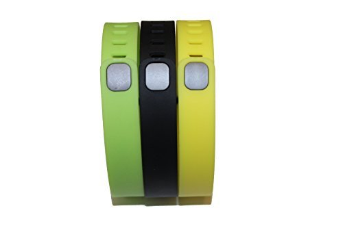 Set 3 Large Size 1 Green 1 Black 1 Yellow-Lemon Rubber Bands (With Clasps) for Fitbit Flex Bracelet Tracking Exercise Activity Sport+1 Free Gift Waterproof Sunglasses, Eyeglasses Soft Pouch Bag Case/ Random Color/