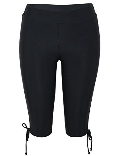 coastal rose Women's Swimming Shorts High Waist Tankini Bikini Bottoms Plus Size Swim Shorts US20 Black