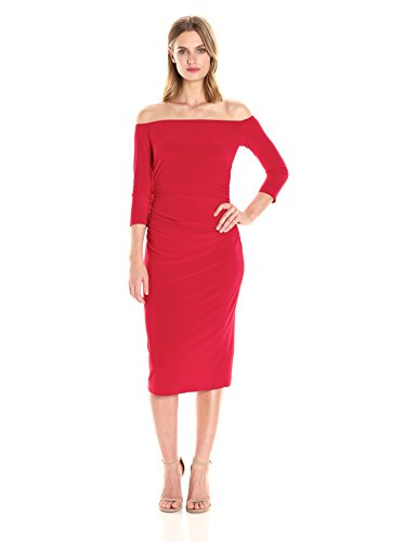a77a9a6ad63 Norma Kamali Women s Off Shoulder Shirred Waist Dress in Red at Amazon  Women s Clothing store