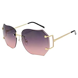 Oversized 70s Classic Large Rimless Laser Cut Transparent Colored Lens Sunglasses Women's Frameless Clear Lenses Eyewear Glasses (Gold | Purple Pink, 65)